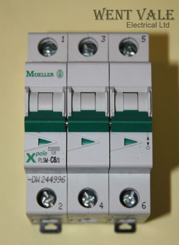 Moeller X Pole - PLSM-C6/3-DW - 6a Type C Triple Pole MCB New In Box